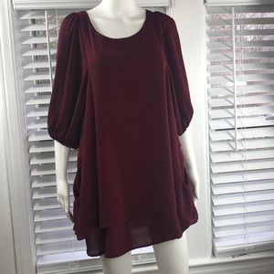 Lucy love small cranberry dress with pockets